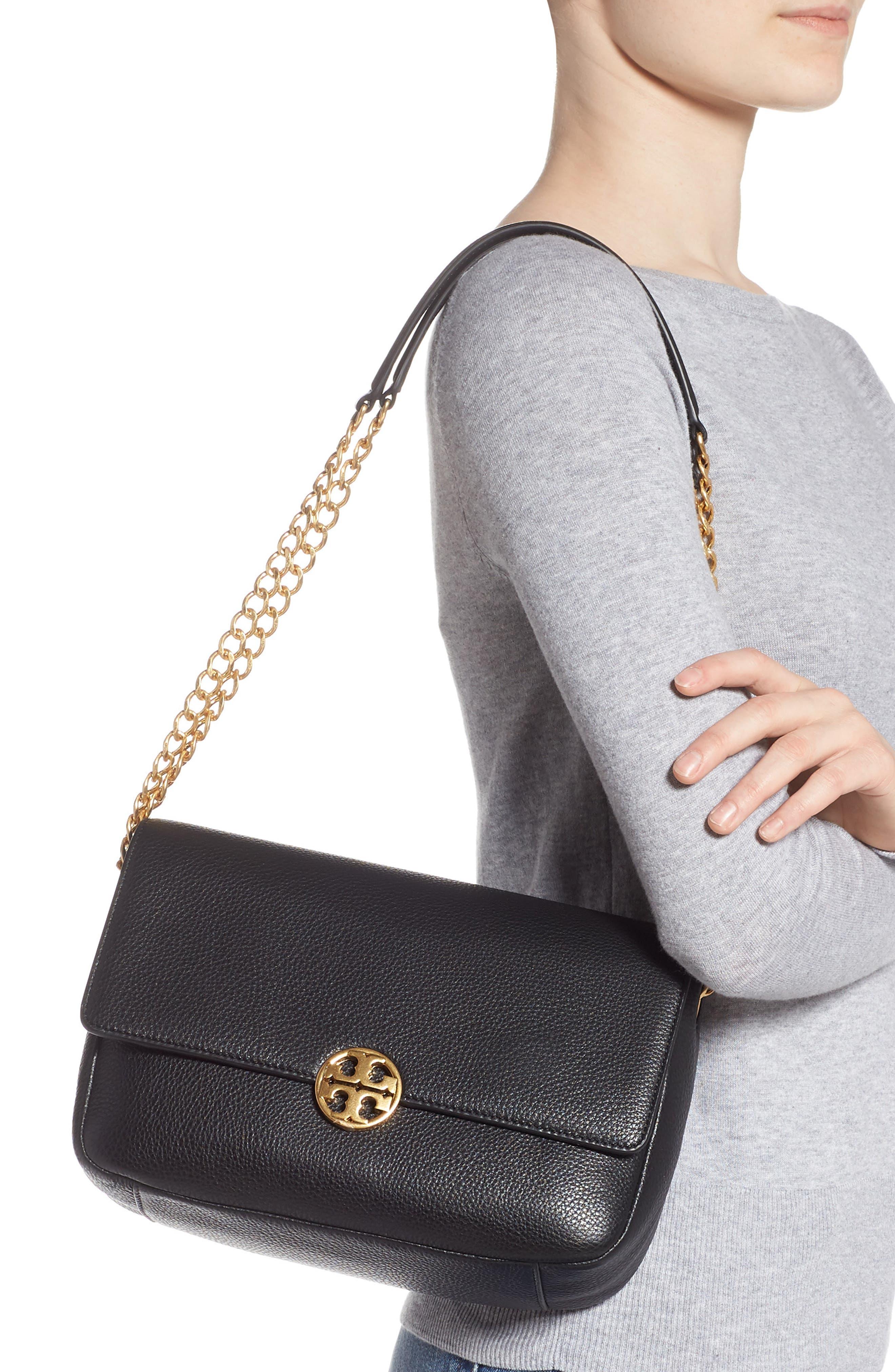 ,                             Chelsea Leather Shoulder Bag,                             Alternate thumbnail 2, color,                             BLACK