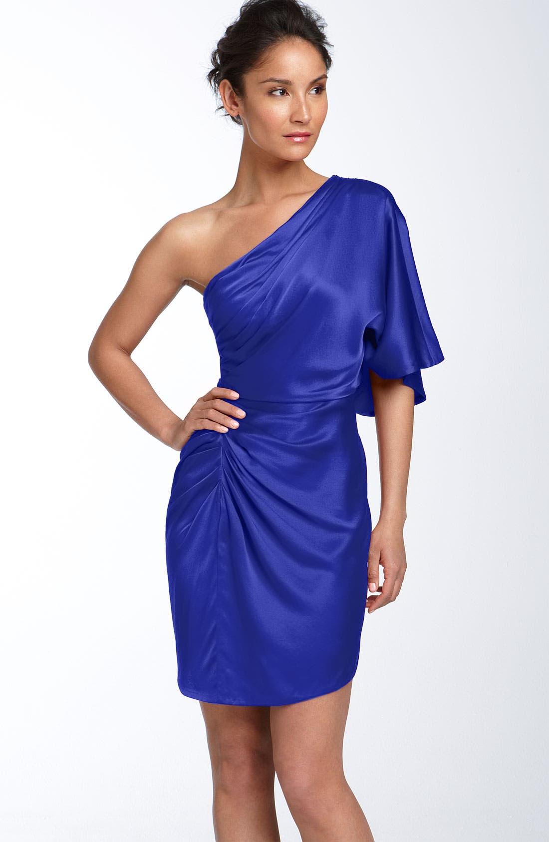 ,                             Draped One Shoulder Stretch Satin Dress,                             Main thumbnail 3, color,                             437