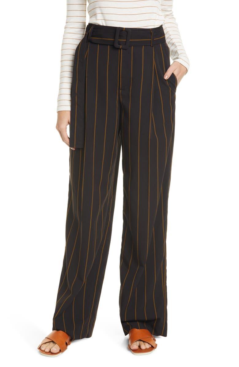 VINCE Belted Stripe Wide Leg Pants, Main, color, BLACK/ OLIVE