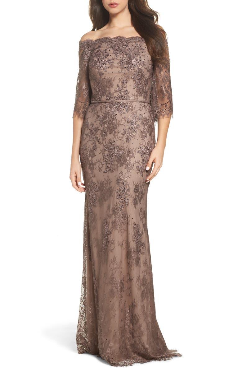 LA FEMME Off the Shoulder Lace Gown, Main, color, COCOA