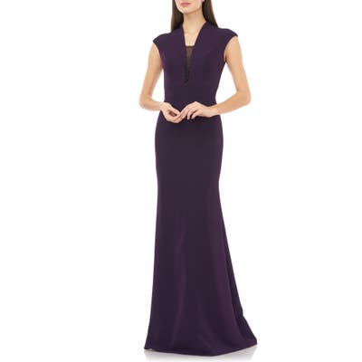 Carmen Marc Valvo Infusion Cap Sleeve Crepe Gown, Purple