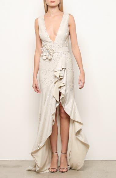 Badgley Mischka Sequin Ruffle Gown, video thumbnail