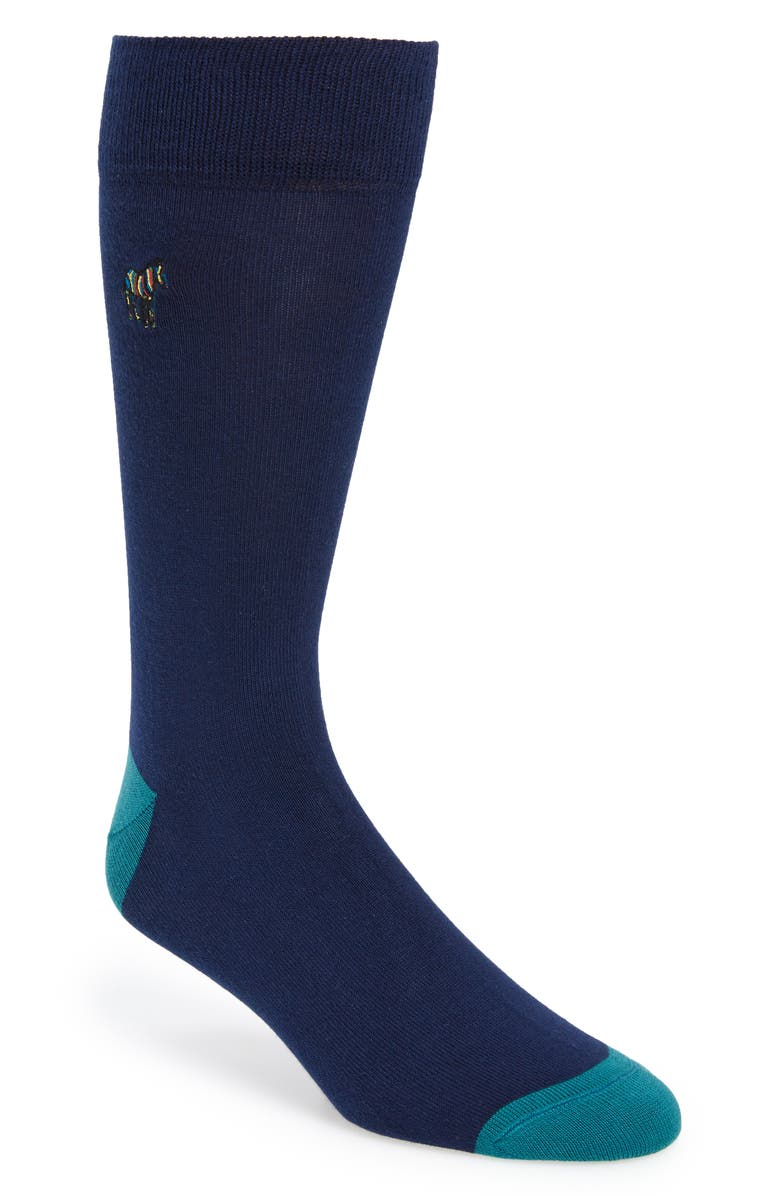 PAUL SMITH Zebra Socks, Main, color, NAVY/TEAL