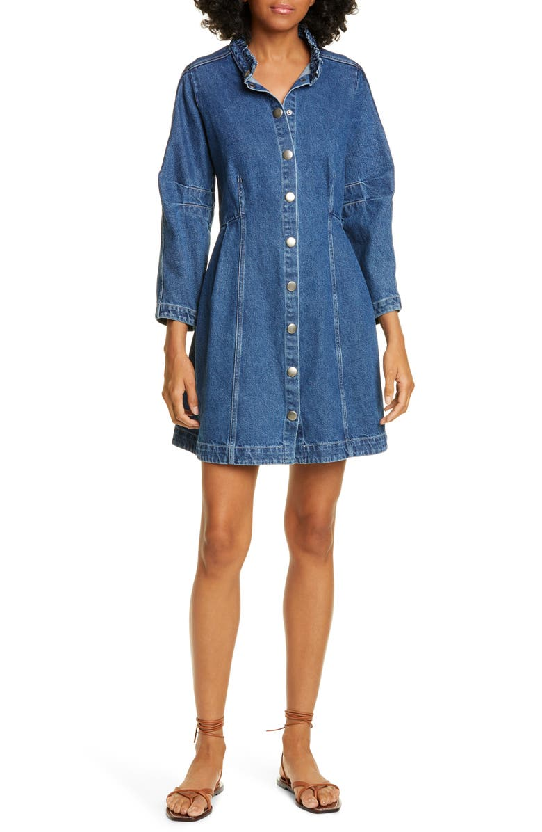 SEA Marble Ruffle Neck Denim Minidress, Main, color, BLUE