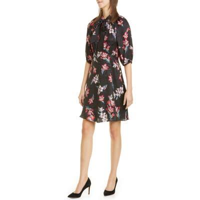 Rebecca Taylor Noha Floral Tie Neck Silk Blend Dress, Black