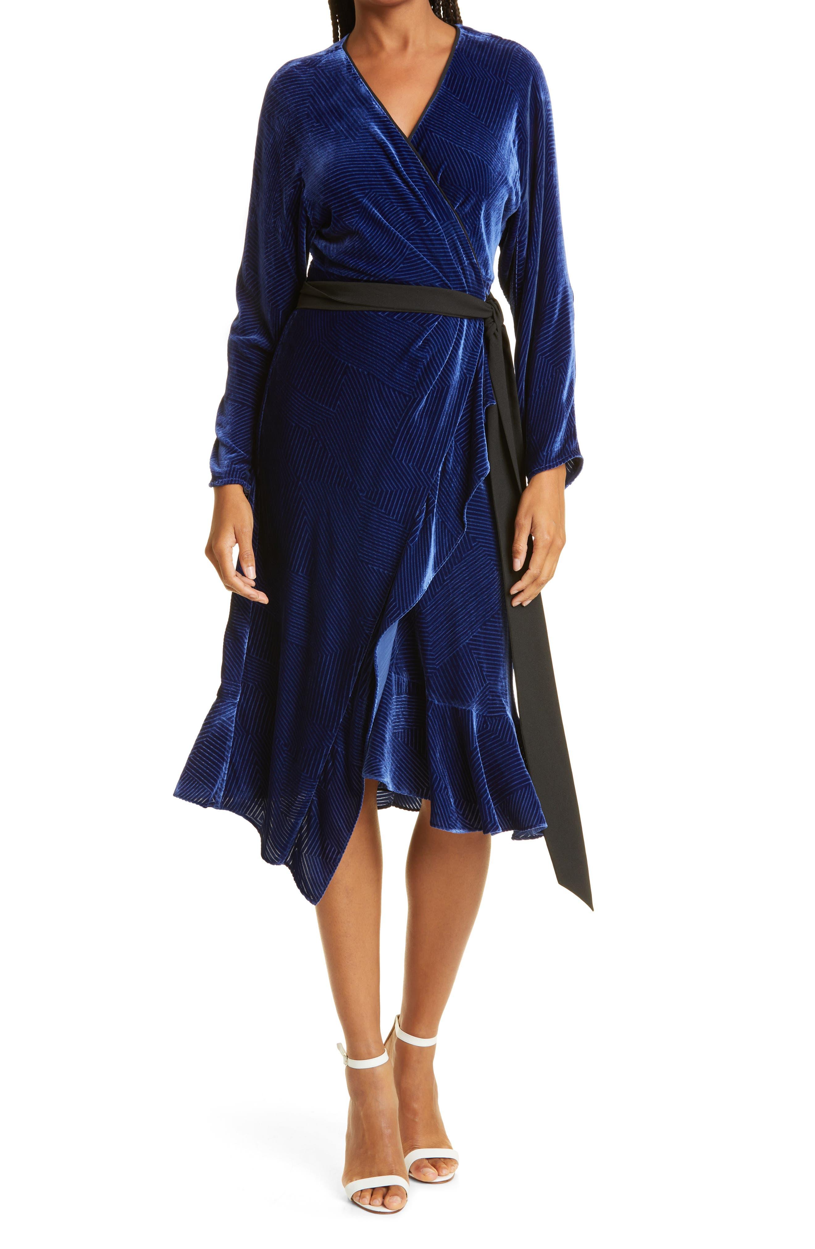 Tulisa Two Velvet Long Sleeve Midi Wrap Dress