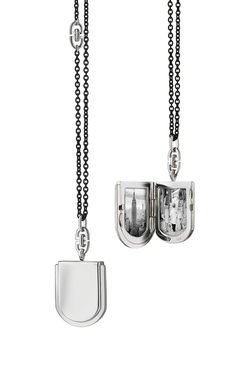 MONICA RICH KOSANN Petite Horseshoe Silver Locket Necklace, Main, color, SILVER