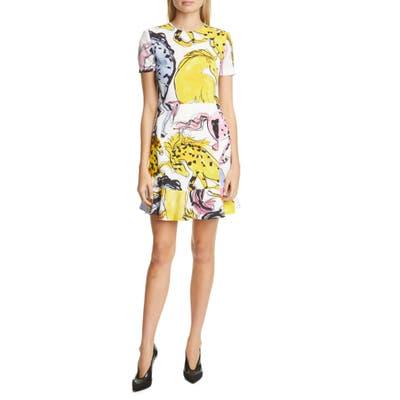 Stella Mccartney Horse Print Flounce Hem Dress, US / 46 IT - White