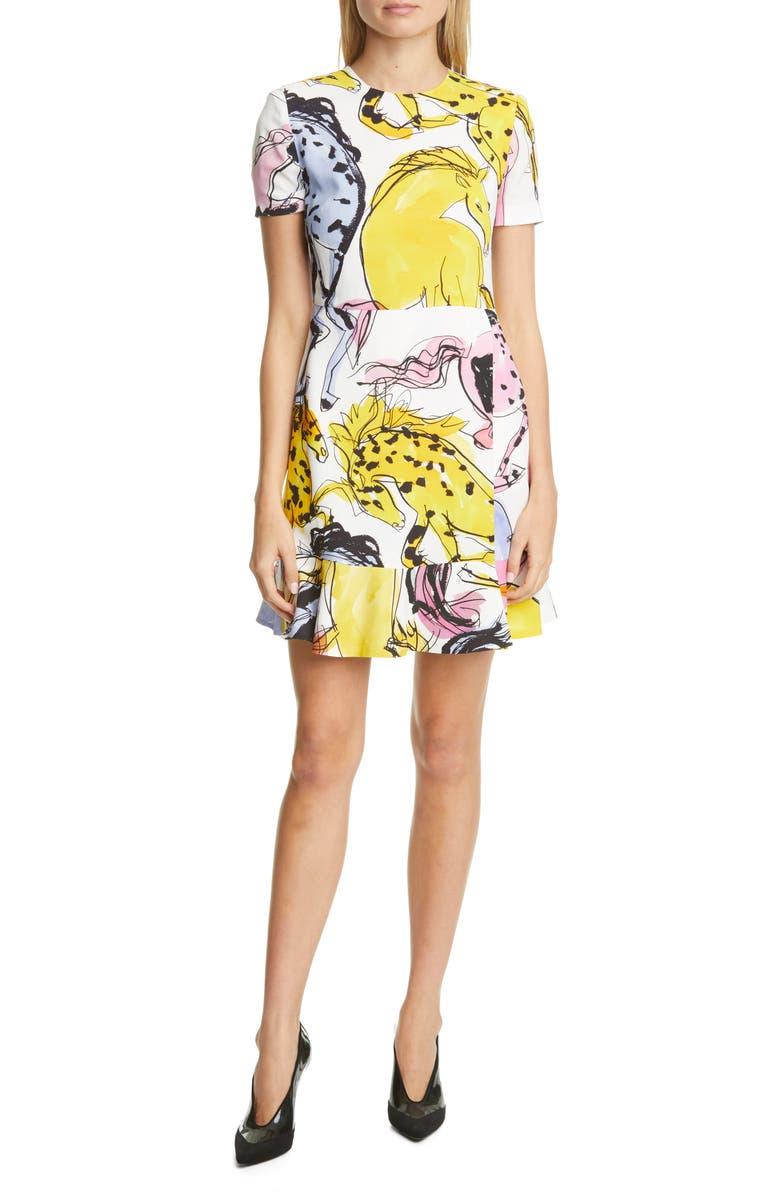 STELLA MCCARTNEY Horse Print Flounce Hem Dress, Main, color, 100