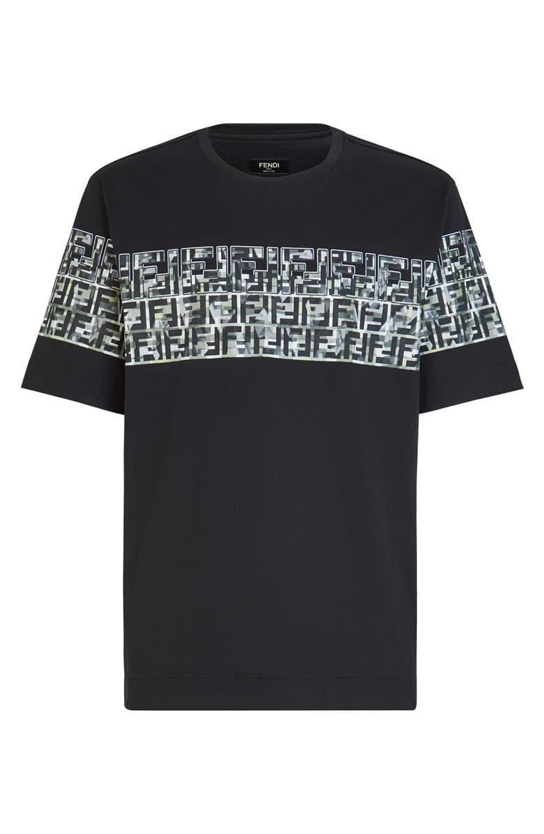 FENDI Camouflage FF Stripe T-Shirt, Main, color, F0QA1 BLACK