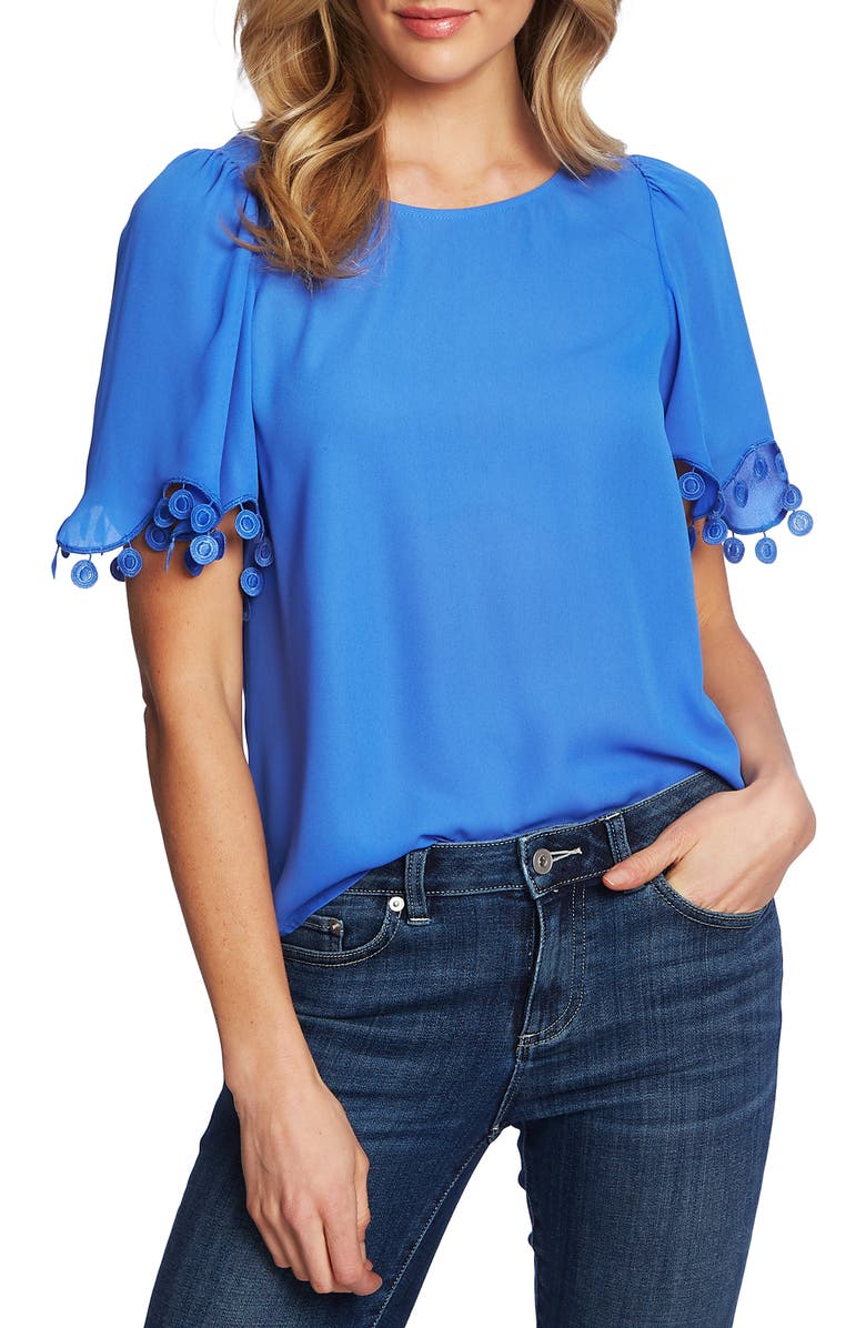 Pompom Detail Short Sleeve Top by Cece