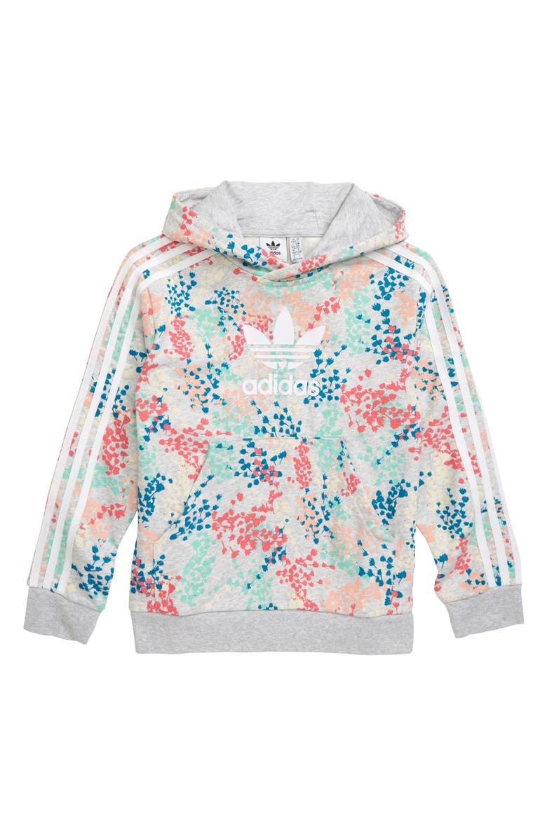 ADIDAS ORIGINALS Floral Hooded Sweatshirt, Main, color, MULTI/ WHITE