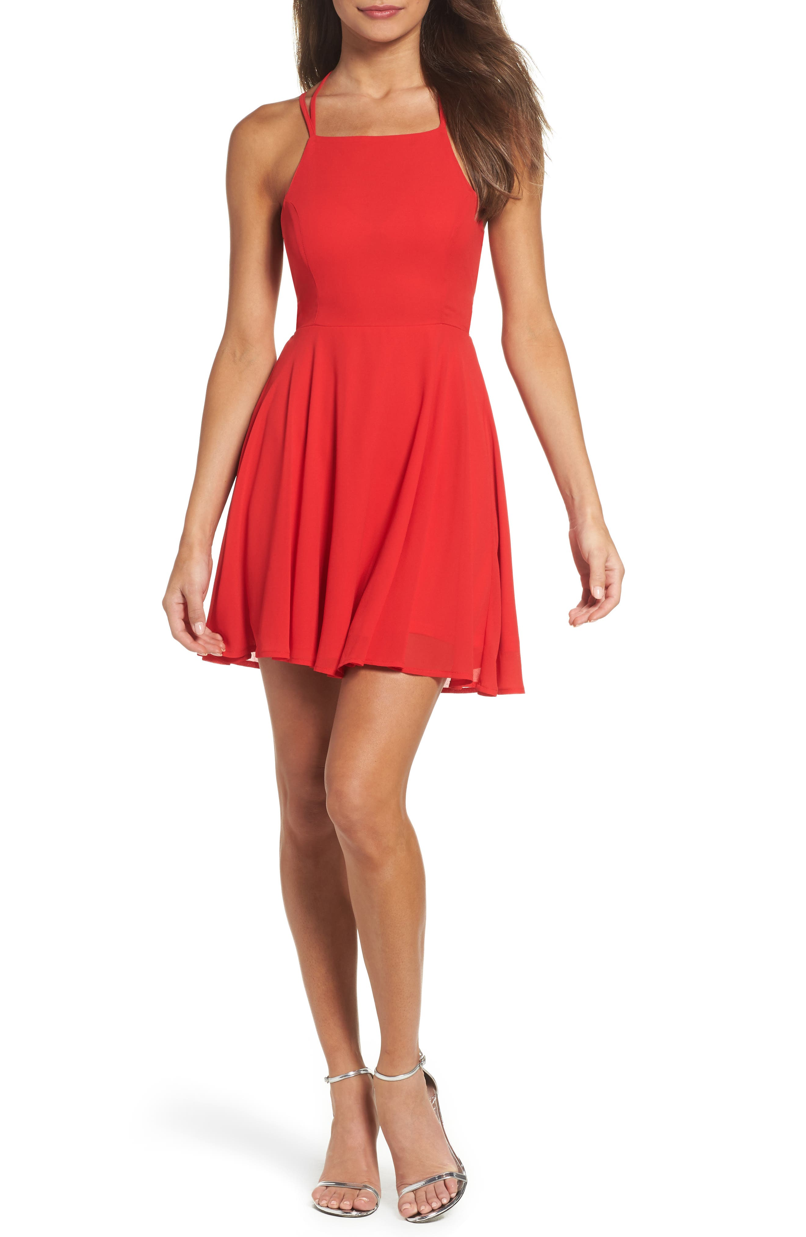 Lulus Good Deeds Lace-Up Skater Dress, Red