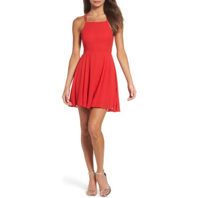 Lulus Good Deeds Lace-Up Skater Minidress, Red