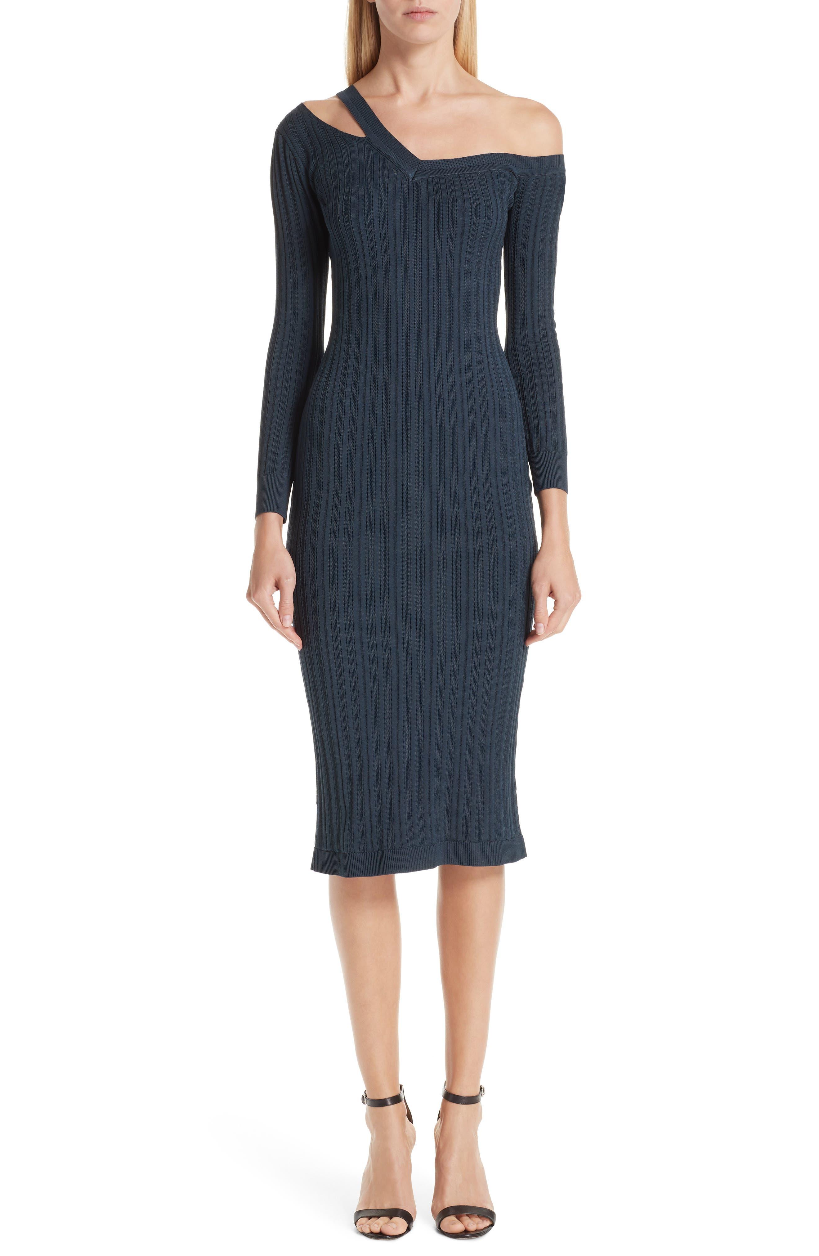 Knit Cutout Off the Shoulder Dress, Main, color, NAVY
