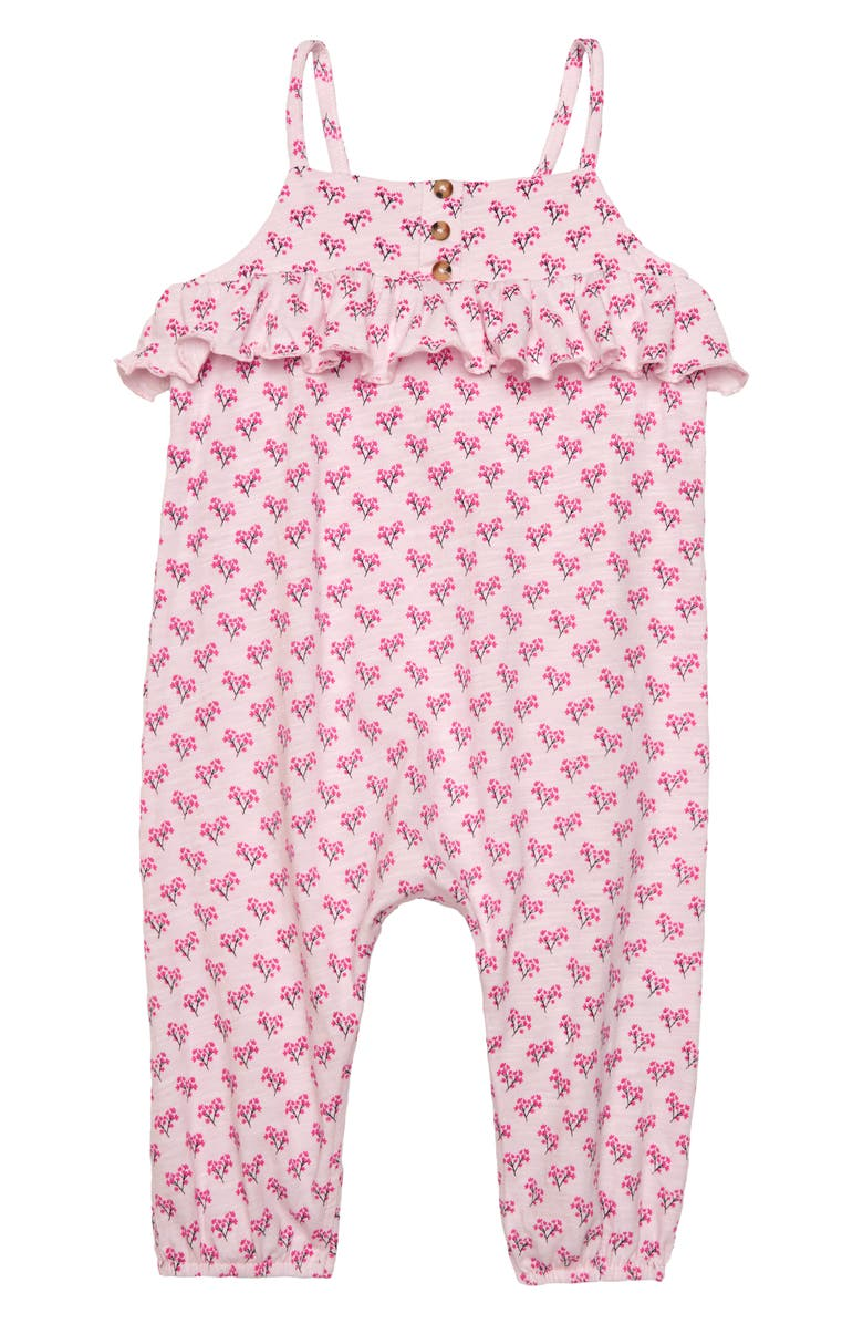 SEED HERITAGE Ruffle Jersey Romper, Main, color, PINK MULTI
