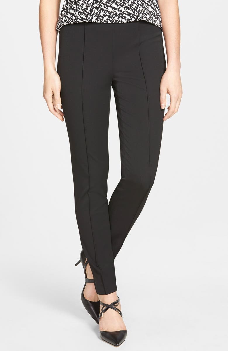 VINCE CAMUTO Side Zip Stretch Twill Pants, Main, color, RICH BLACK