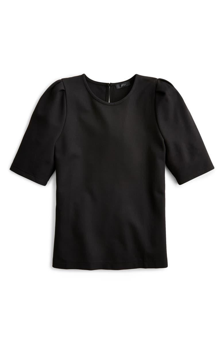 J.CREW Puff Sleeve Ponte Top, Main, color, BLACK