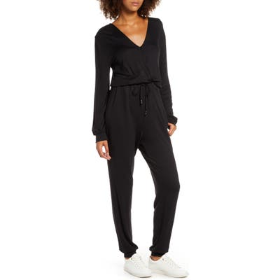 Fraiche By J Faux Wrap Jumpsuit, Black