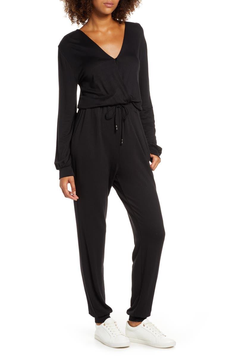 FRAICHE BY J Faux Wrap Jumpsuit, Main, color, BLACK