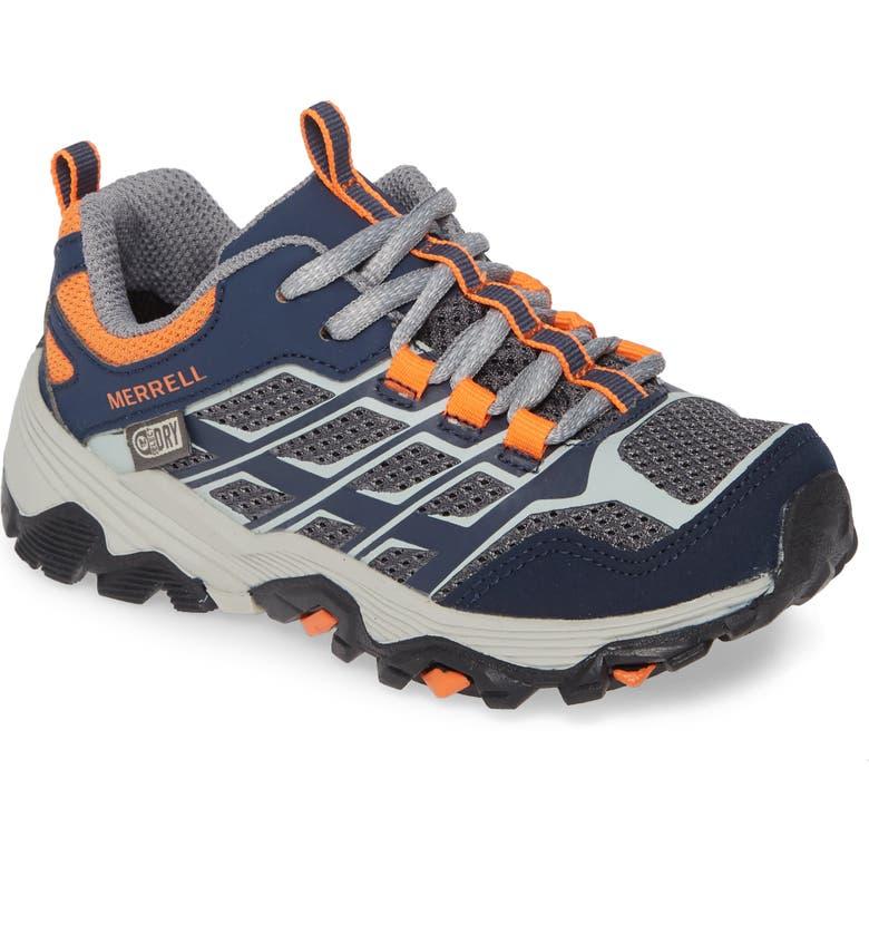 MERRELL Moab FST Waterproof Sneaker, Main, color, NAVY/ GREY/ ORANGE