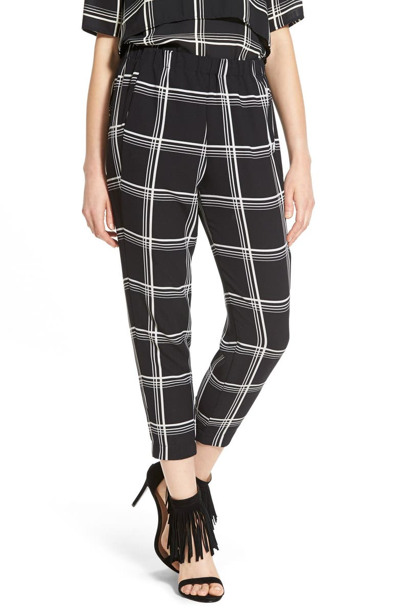 WAYF Crop Check Trousers, Main, color, 001