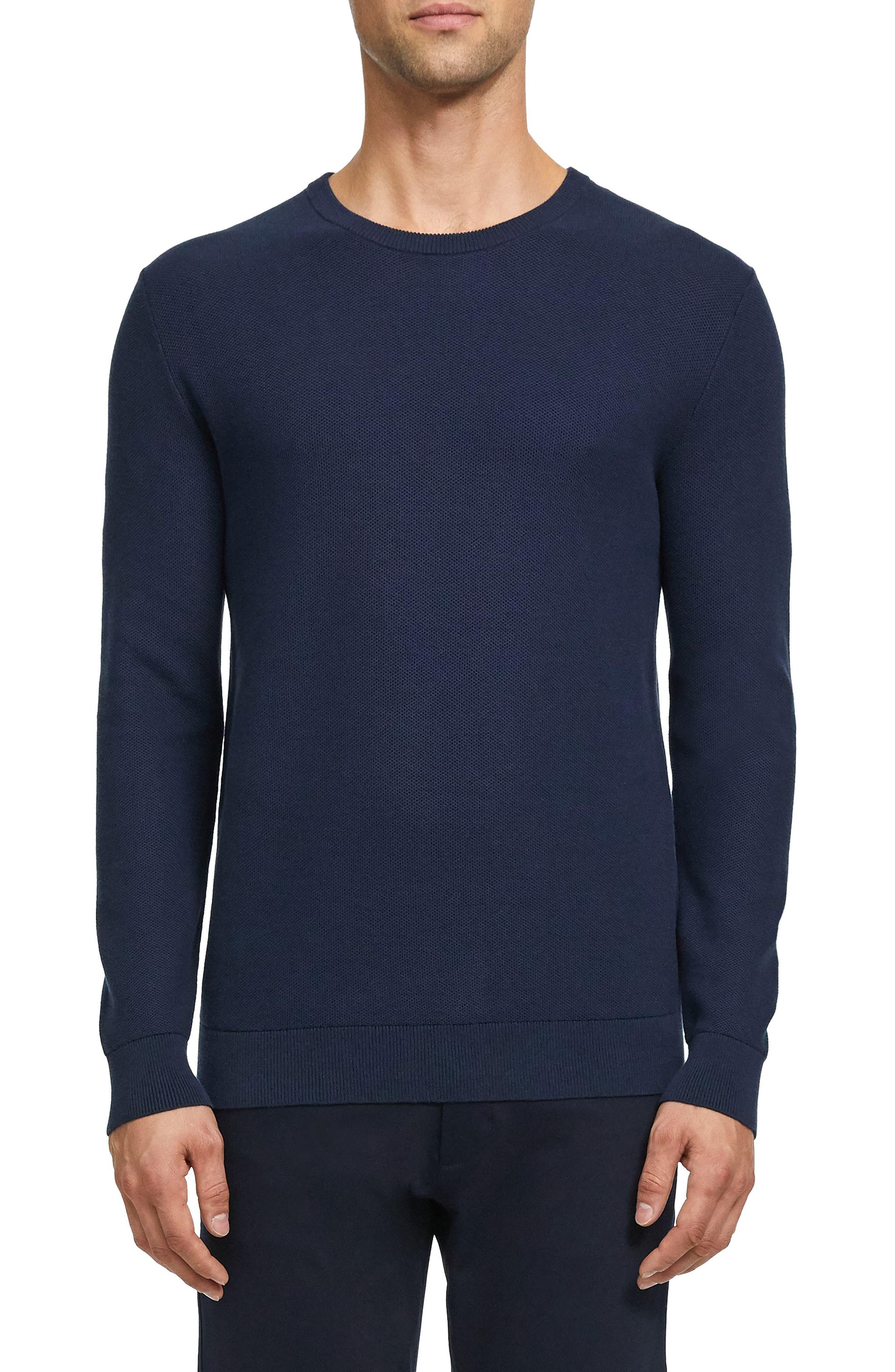 Theory Riland Crewneck Piqué Sweatshirt
