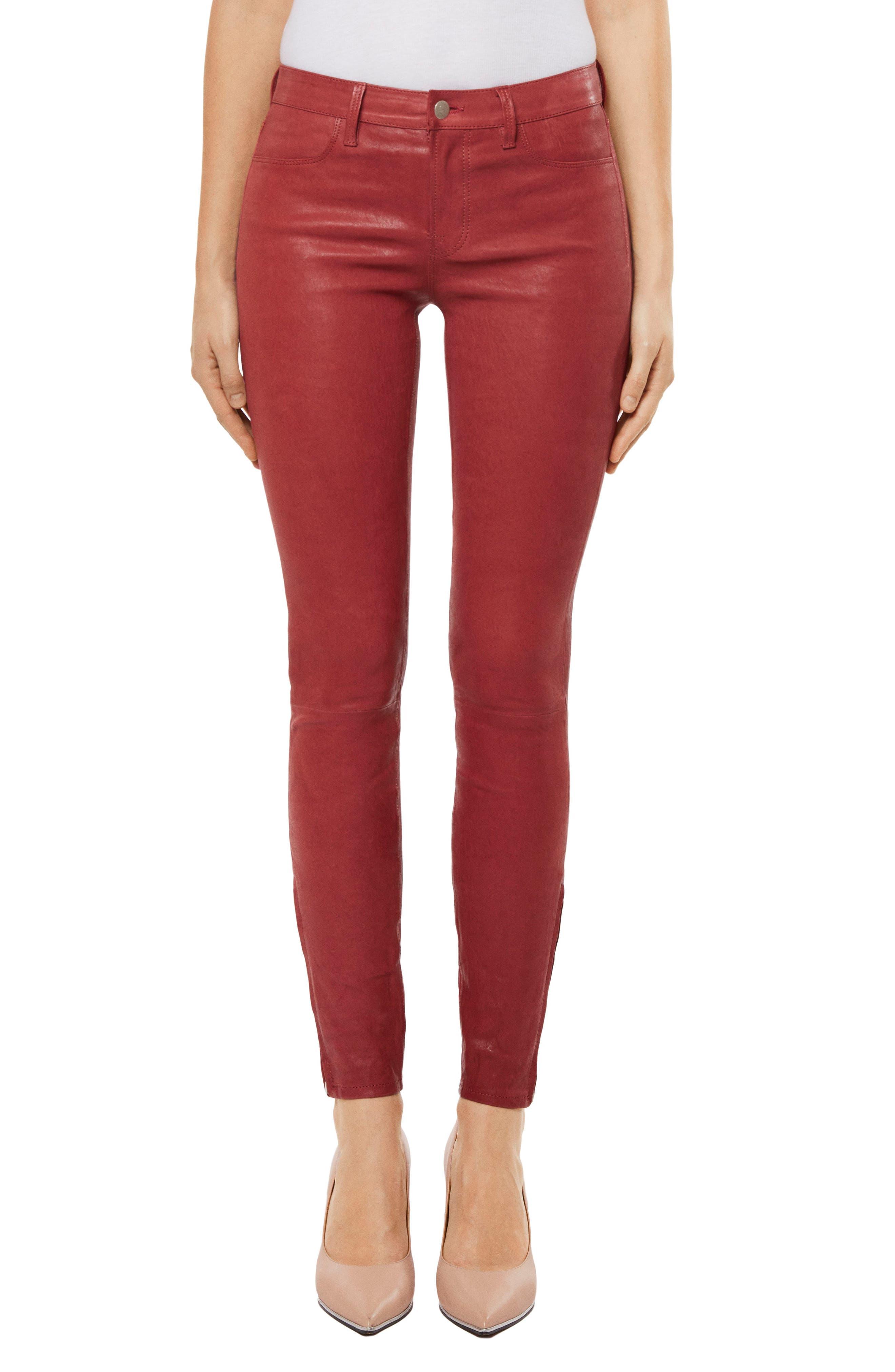 ,                             '8001' Lambskin Leather Pants,                             Main thumbnail 26, color,                             601