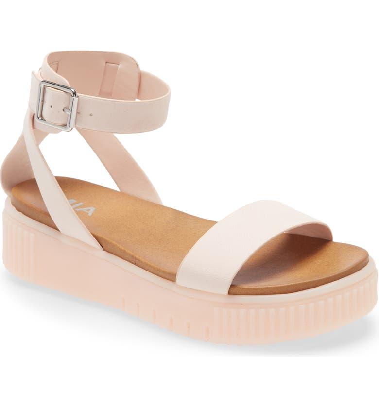 MIA Lunna Platform Ankle Strap Sandal, Main, color, PASTEL BLUSH FAUX LEATHER