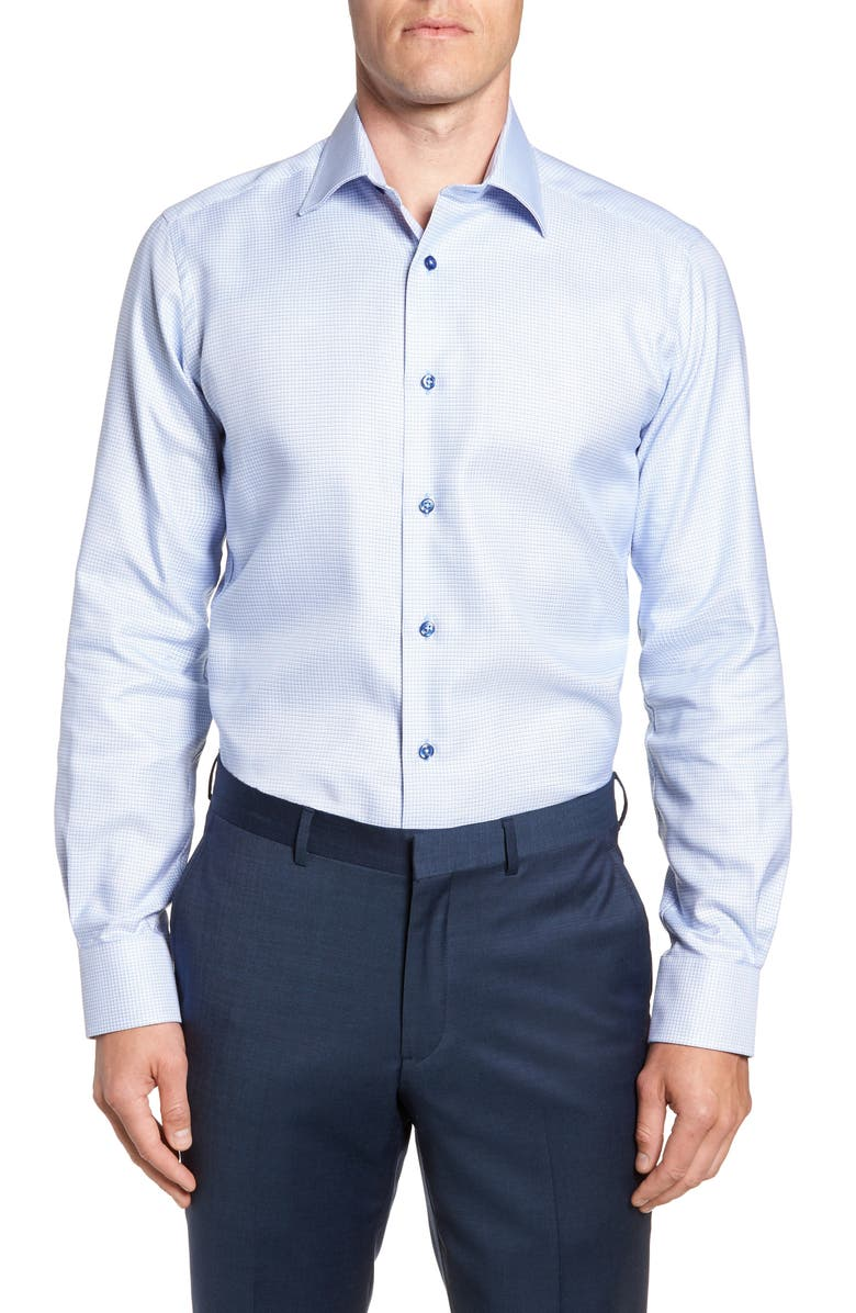 DAVID DONAHUE Trim Fit Check Dress Shirt, Main, color, BLUE