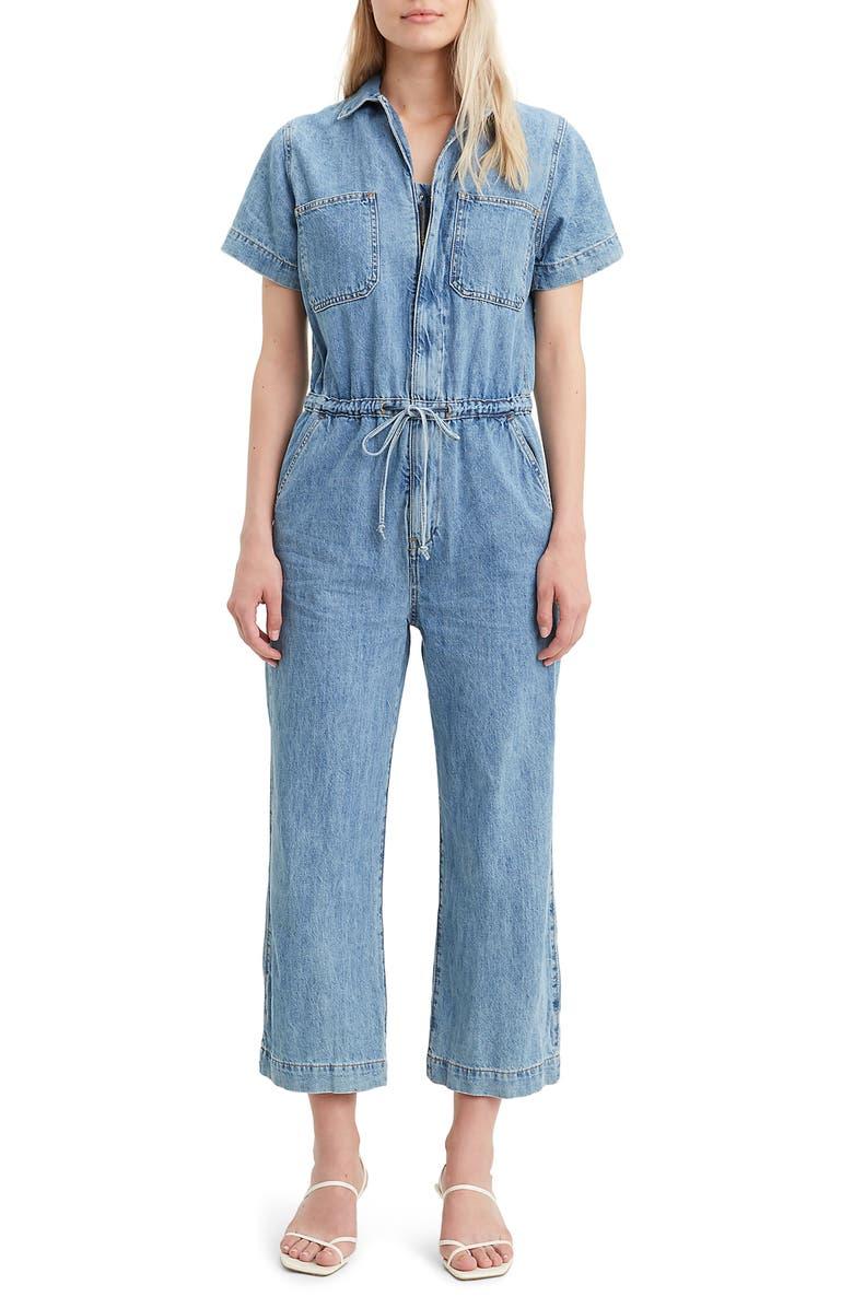 LEVI'S<SUP>®</SUP> Wide Leg Crop Denim Jumpsuit, Main, color, DENIM