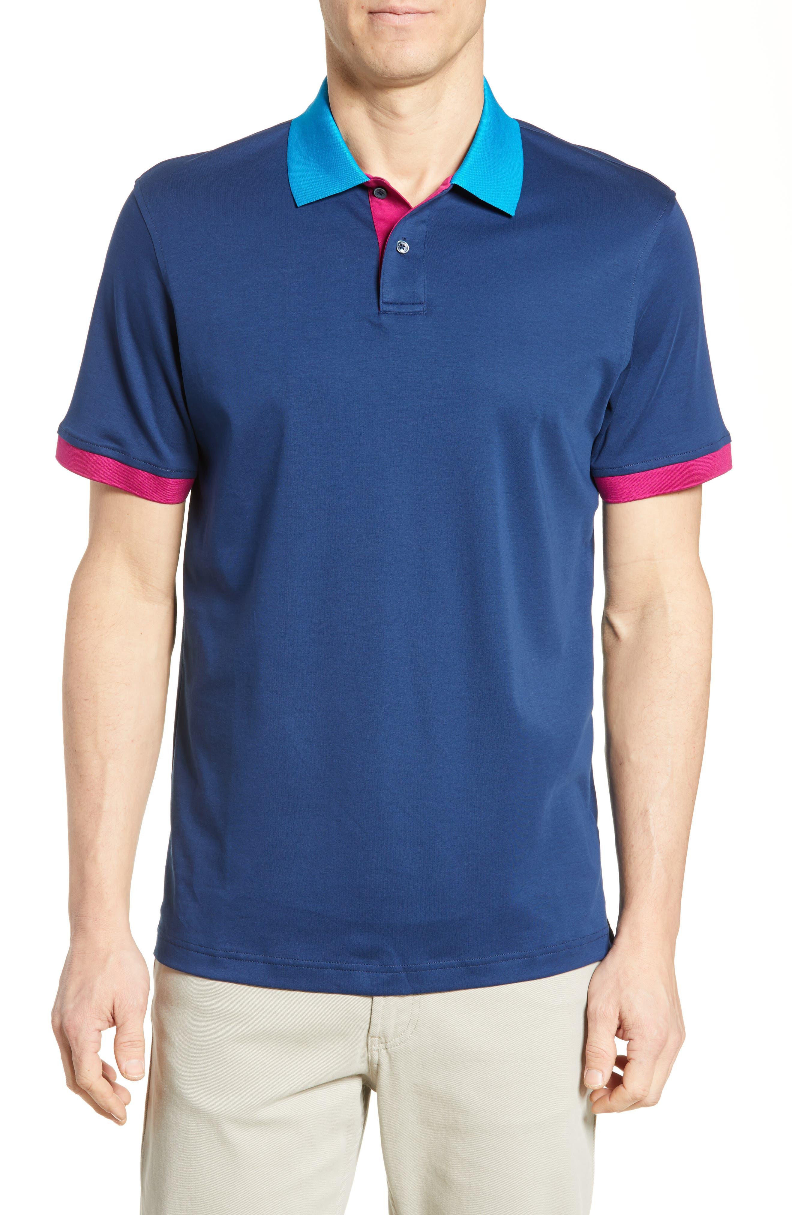men's bugatchi colorblock pique polo, size xx-large - blue