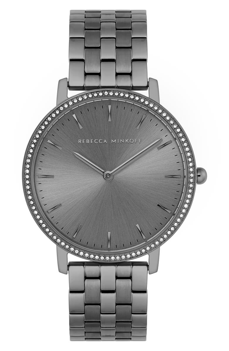 REBECCA MINKOFF Major Crystal Bezel Bracelet Watch, 35mm, Main, color, GREY