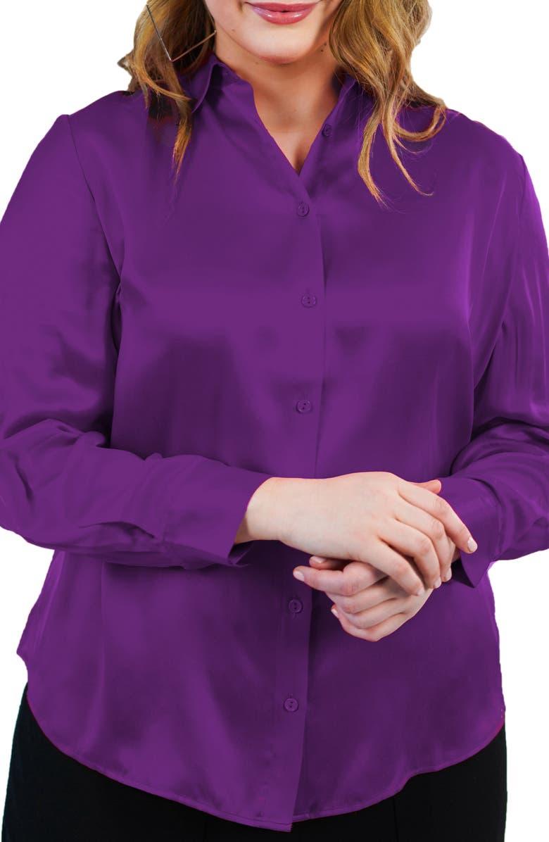 MARÉE POUR TOI Silk Charmeuse Blouse, Main, color, PURPLE