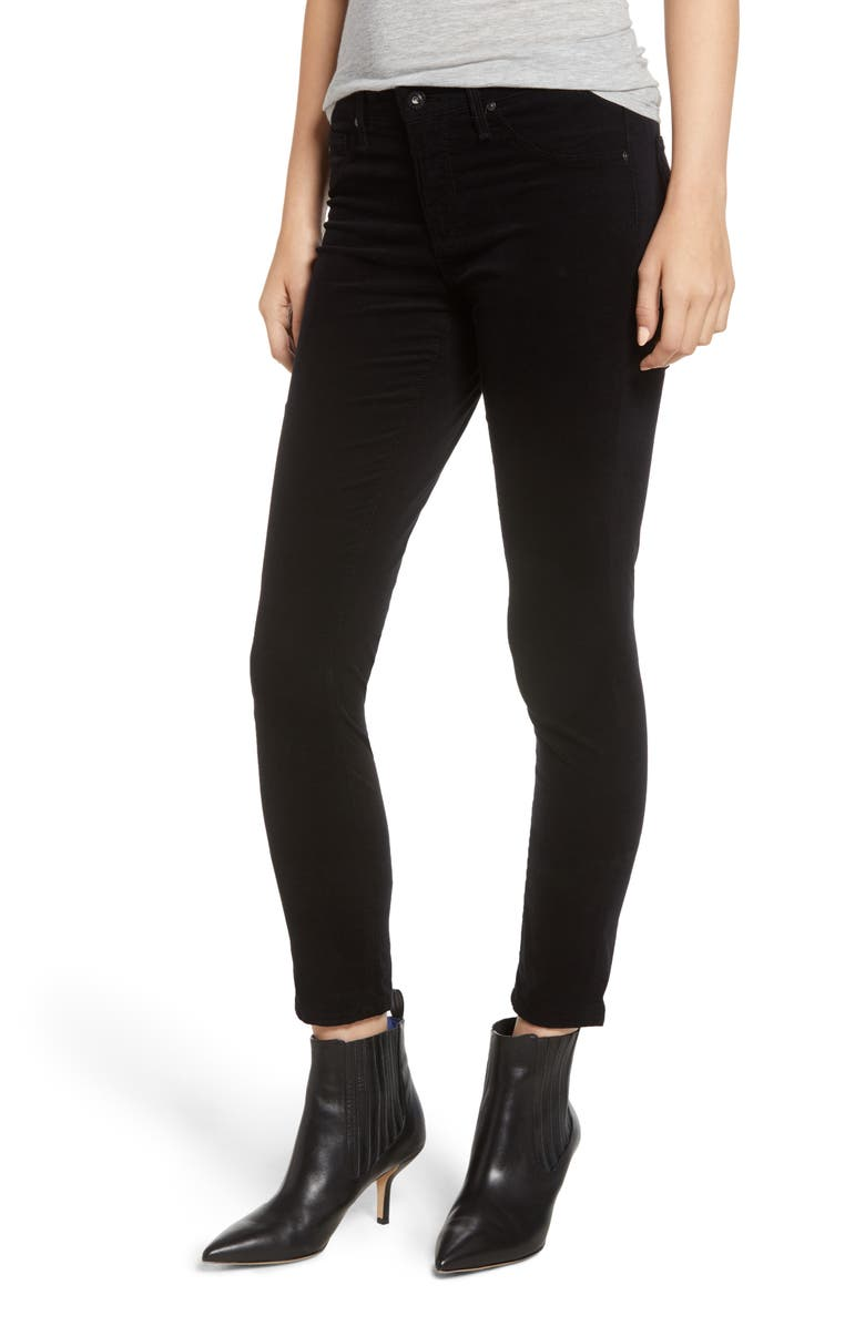 AG The Legging Corduory Skinny Ankle Jeans, Main, color, SUPER BLACK