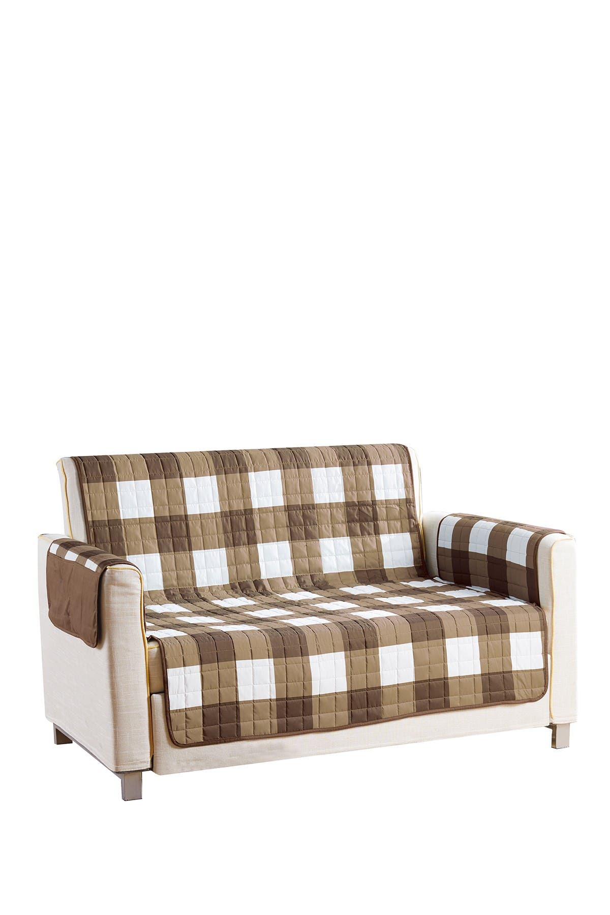 Image of Duck River Textile Taupe/Chocolate Alba Reversible Waterproof Microfiber Love Seat Cover