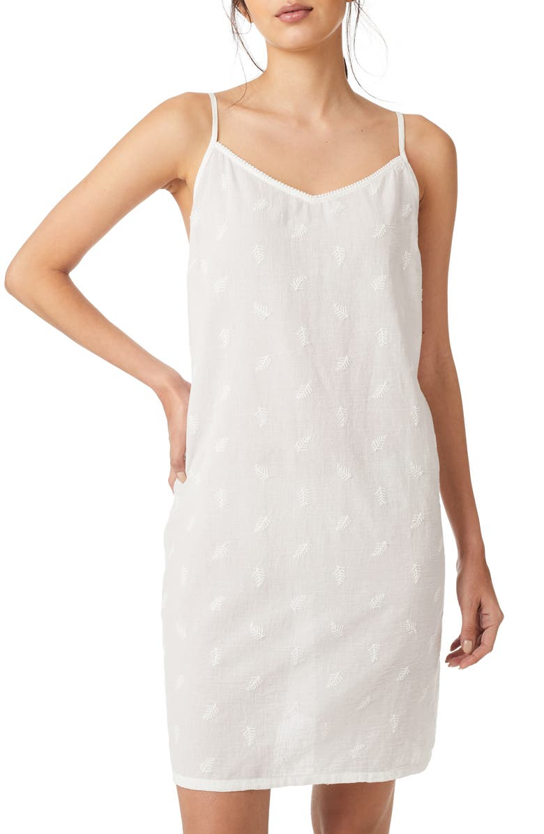 THE WHITE COMPANY Fern Embroidery Cotton Chemise, Main, color, 100