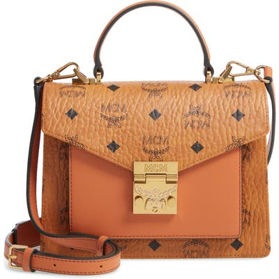 Mcm Small Patricia Visetos Coated Canvas & Leather Satchel - Brown