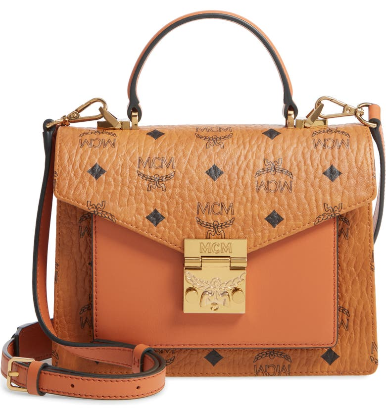MCM Small Patricia Visetos Coated Canvas & Leather Satchel, Main, color, 200