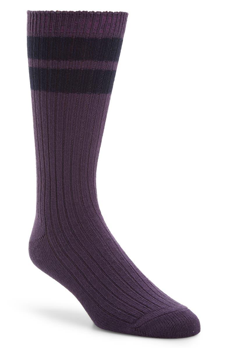 ENTIREWORLD Stripey Socks, Main, color, PURPLE/ NAVY
