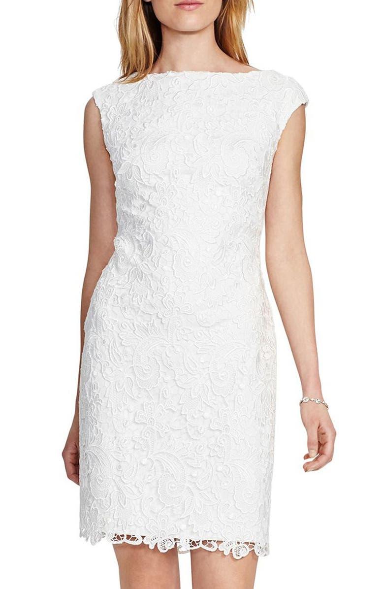 LAUREN RALPH LAUREN Embroidered Lace Sheath Dress, Main, color, 100
