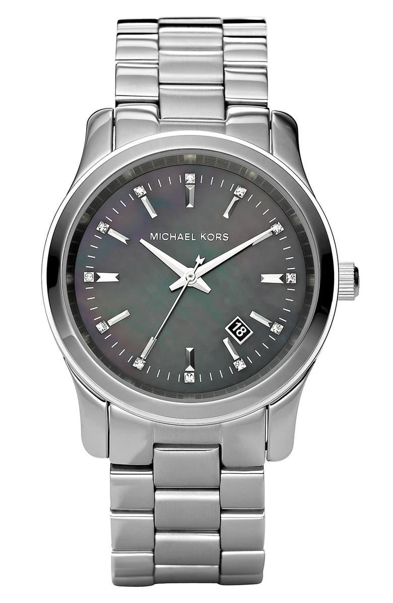 MICHAEL MICHAEL KORS Michael Kors 'Runway' Crystal Index Watch, Main, color, 040