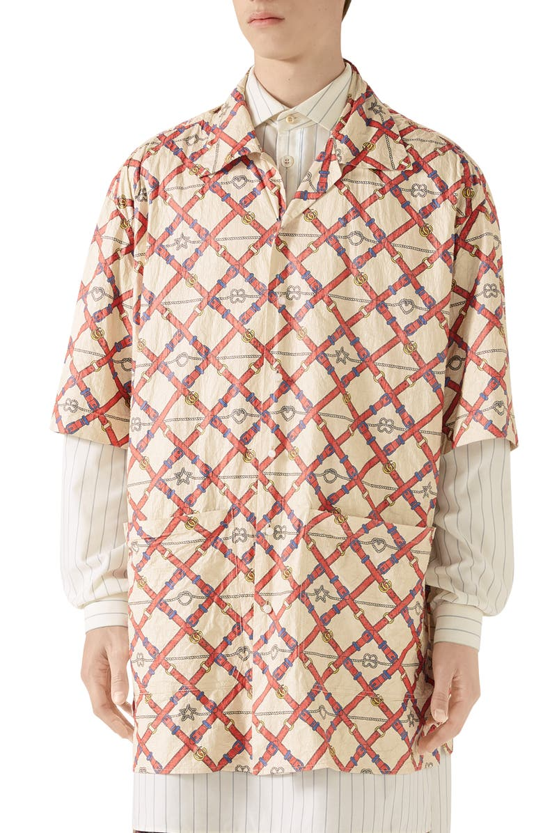 GUCCI Belt Chess Longline Button-Up Camp Shirt, Main, color, IVORY/LIVE RED PRT