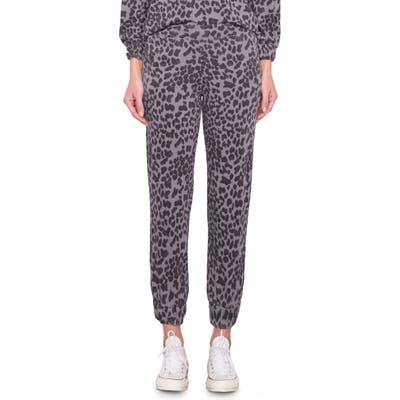 Sundry Leopard Ruched Cuff Sweatpants