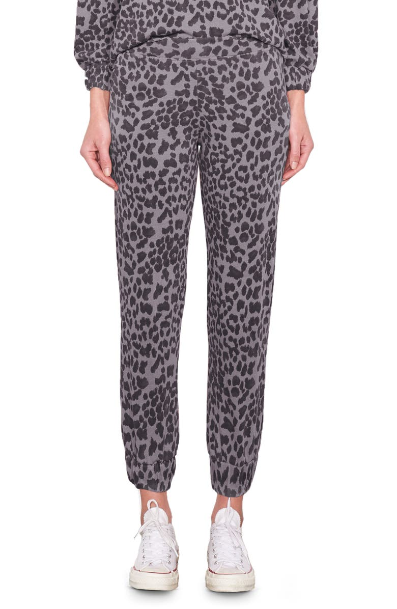 SUNDRY Leopard Ruched Cuff Sweatpants, Main, color, CHARCOAL