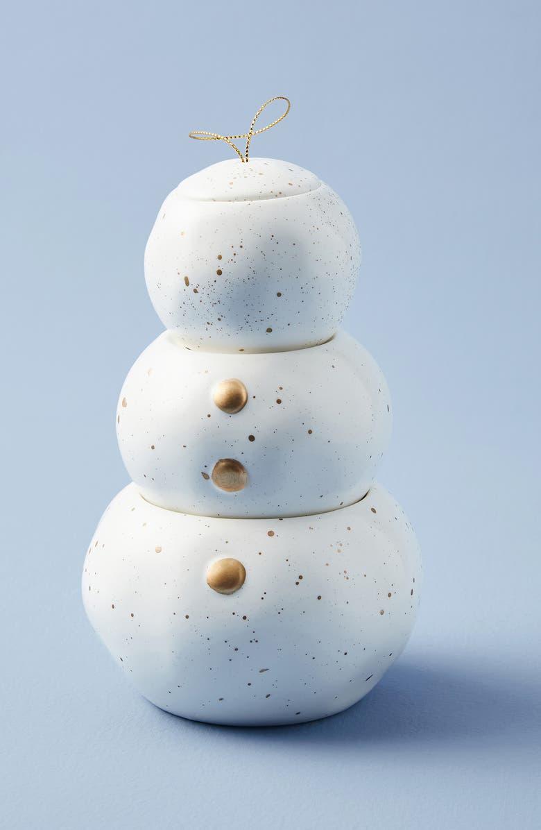 ANTHROPOLOGIE Capril Blue Stackable Snowman Candle, Main, color, VOLCANO