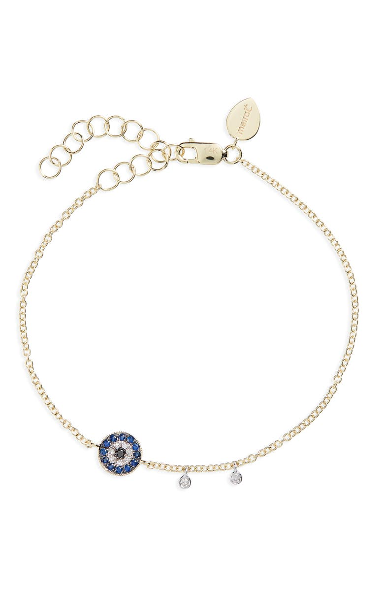 MEIRA T Evil Eye Sapphire & Diamond Charm, Main, color, YELLOW GOLD