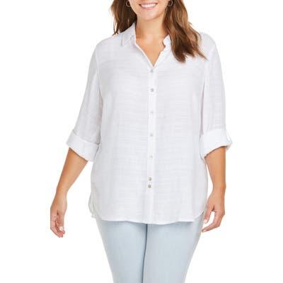 Plus Size Foxcroft Amber Dobby Stripe Shirt, White