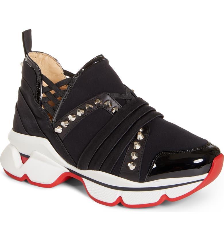 CHRISTIAN LOUBOUTIN Run Slip-On Sneaker, Main, color, 001