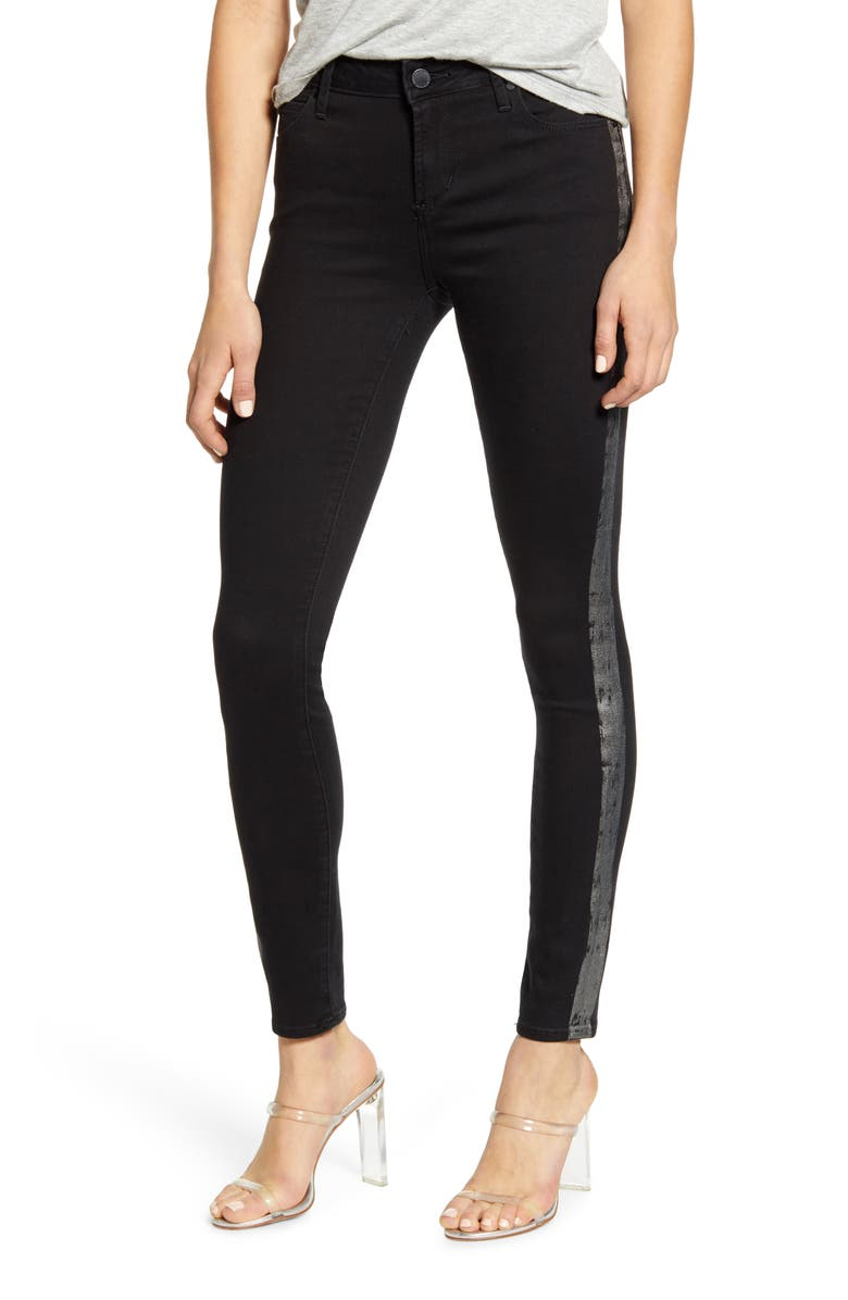 ARTICLES OF SOCIETY Sarah Metallic Side Stripe Skinny Jeans, Main, color, BAILEY